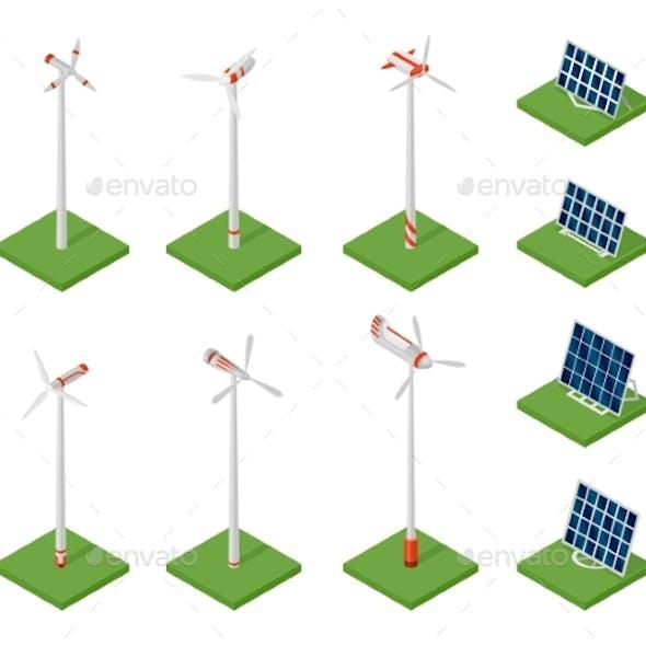 Isometric Solar Panels and Wind Turbines