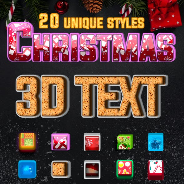 3D Christmas Text Style