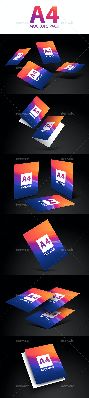 A4 Flyer Poster Web Mockups Pack - Product Mock-Ups Graphics