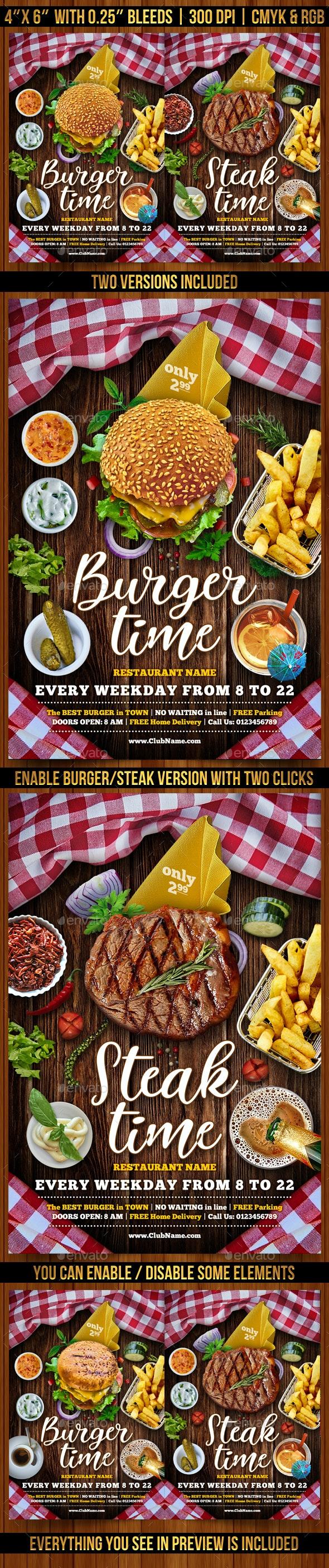 Burger and Steak Flyer Template - Restaurant Flyers
