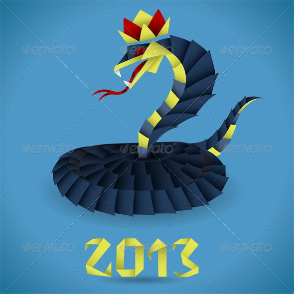 Paper Origami Snake with 2013 Year - New Year Seasons/Holidays