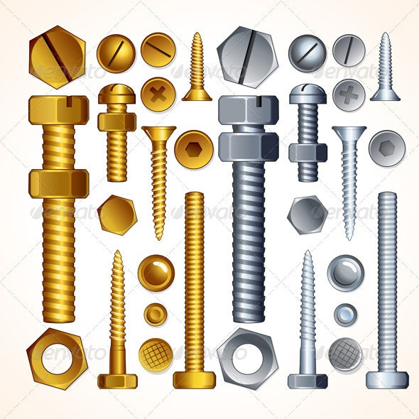 Screws, Bolts and Rivets - Objects Vectors