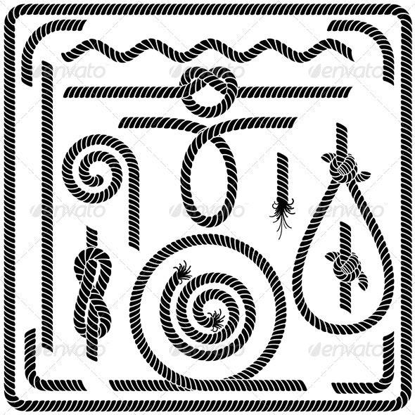Vector Rope Design Elements - Borders Decorative