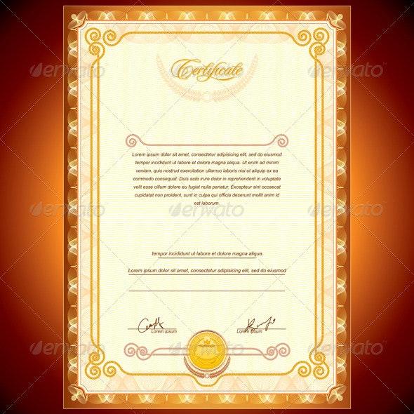 Golden Certificate - Backgrounds Decorative