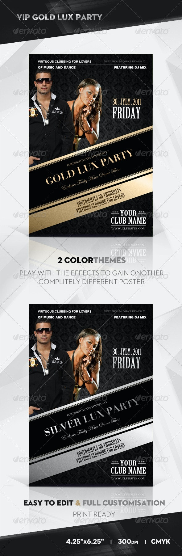Gold Vip Lux Party Flyer / Poster - Clubs & Parties Events