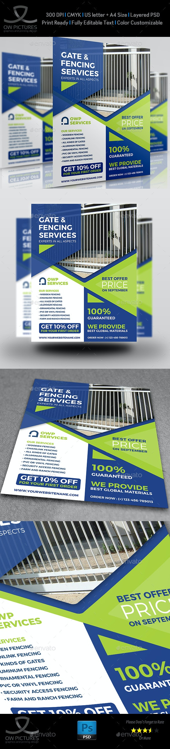 Fence and Gates Services Flyer Template - Flyers Print Templates