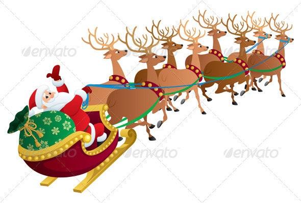 Santa on White - Christmas Seasons/Holidays