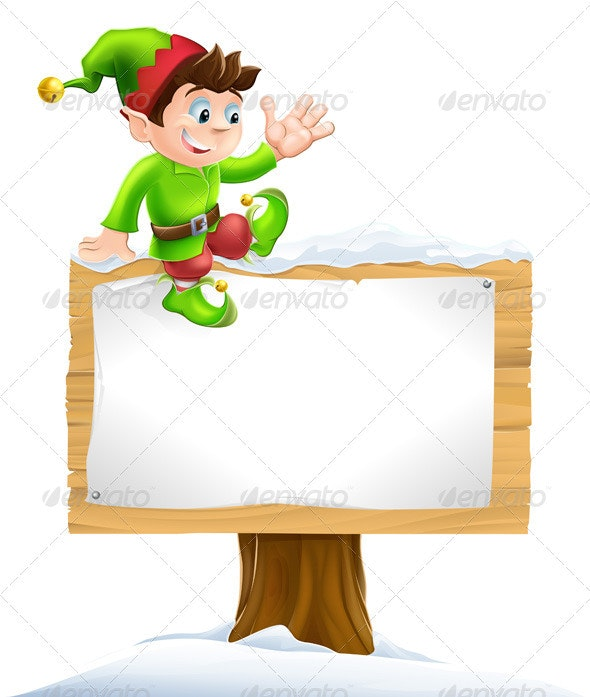 Elf on Snowy Sign - Christmas Seasons/Holidays