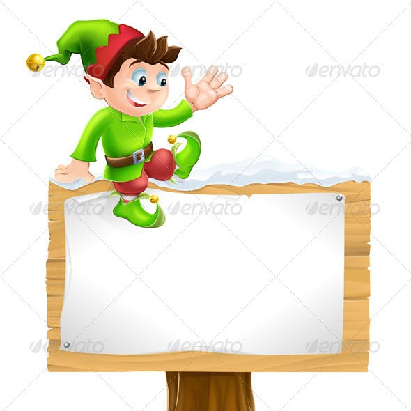 Elf on Snowy Sign