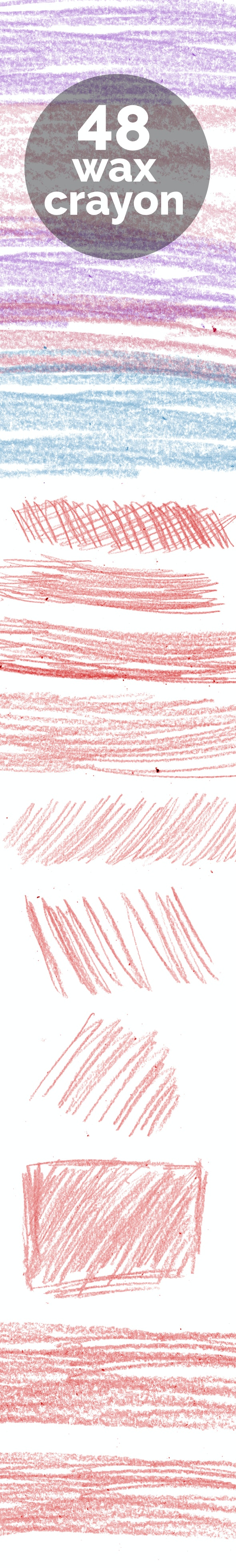 48 Wax Crayon Scribbles - Artistic Brushes
