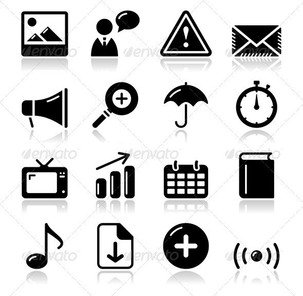 Website internet glossy sqaure icons set - Web Elements Vectors