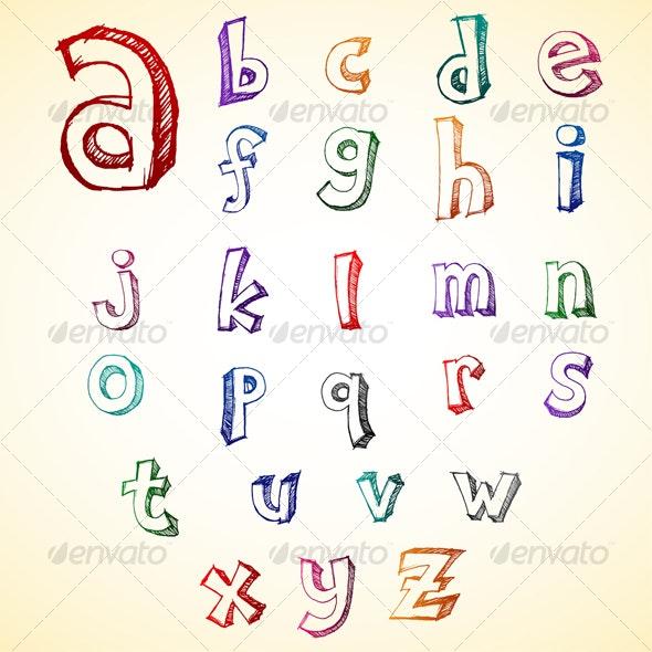 Alphabet Sketch  - Objects Vectors
