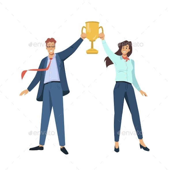 Business People Hold Gold Cup Best Award in Hands