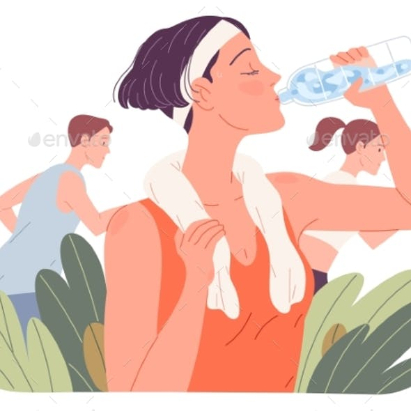 Fit Woman Drinking Water