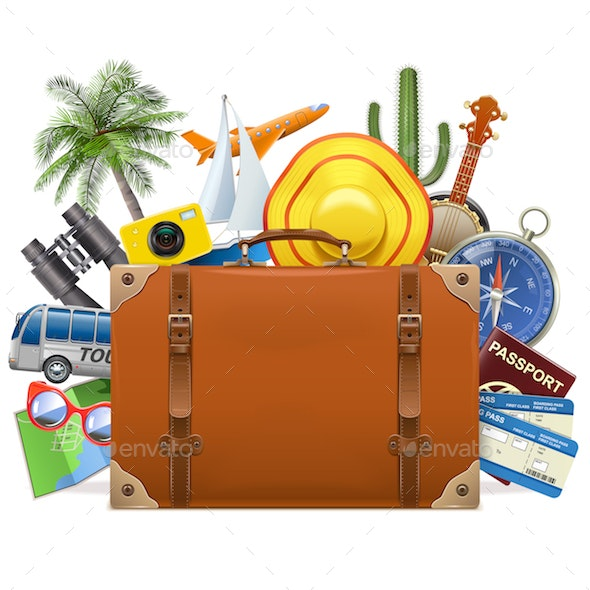 Vector Tourism Concept with Baggage - Travel Conceptual