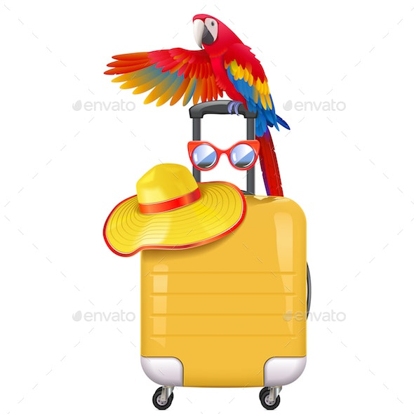 Vector Travel Concept with Welcoming Parrot - Travel Conceptual