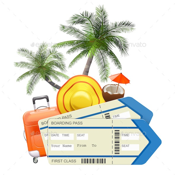 Vector Travel Concept with Tickets - Travel Conceptual