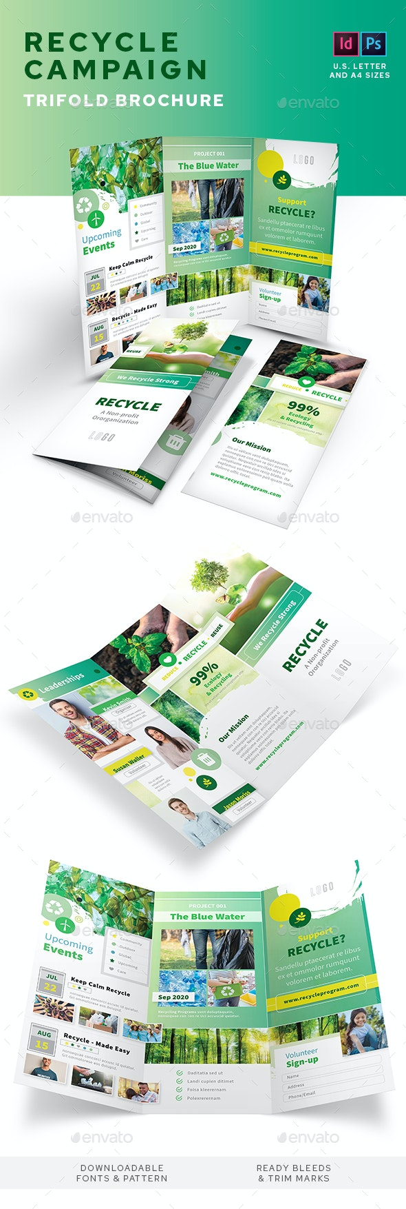 Recycling Campaign Trifold Brochure - Informational Brochures