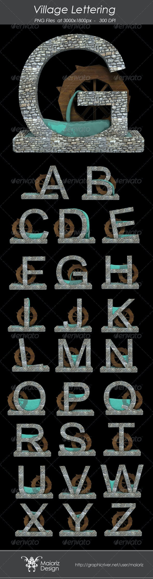 Village Lettering - Text 3D Renders