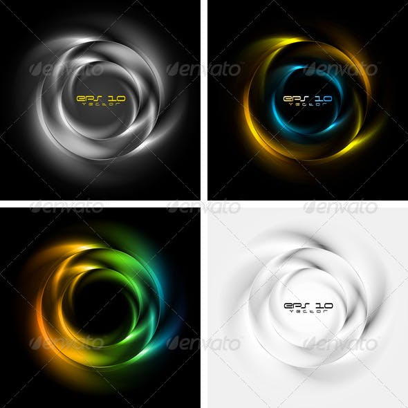 Vector logo. Abstract glossy rings