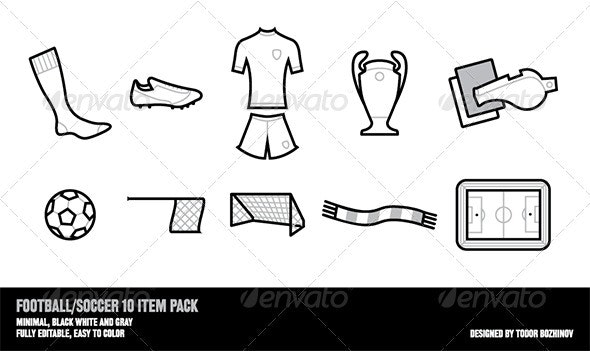 Football Soccer 10 Item Pack - Sports/Activity Conceptual