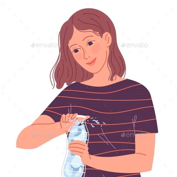 Girl Opens a Bottle of Water to Drink in the Heat