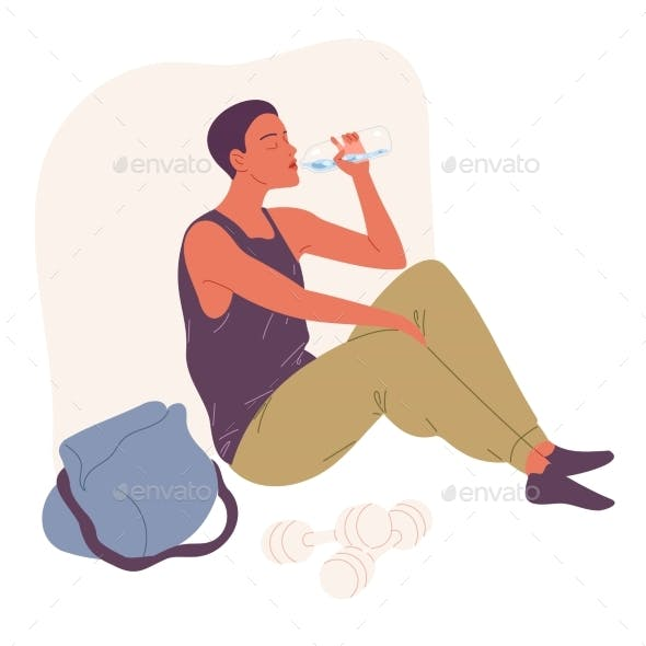 Young Man Sits on the Floor and Drinks Water