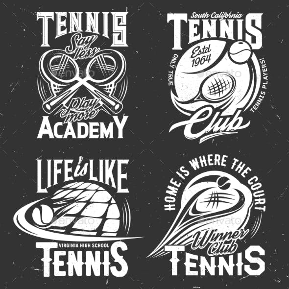 Tennis Sport Vector Tshirt Prints Rackets or Balls