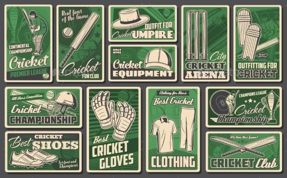 Cricket Sports Game Vector Retro Banners Set - Sports/Activity Conceptual