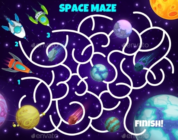 Labyrinth Maze Game Spaceships and Planets Test - Technology Conceptual