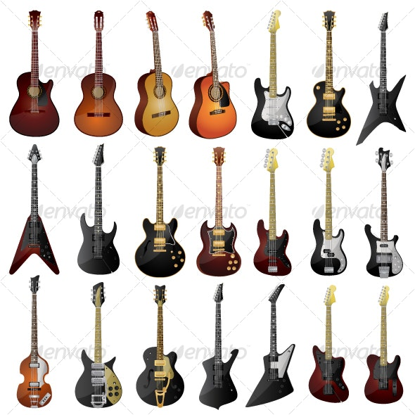 Acoustic & Electric Guitar Pack - Man-made Objects Objects