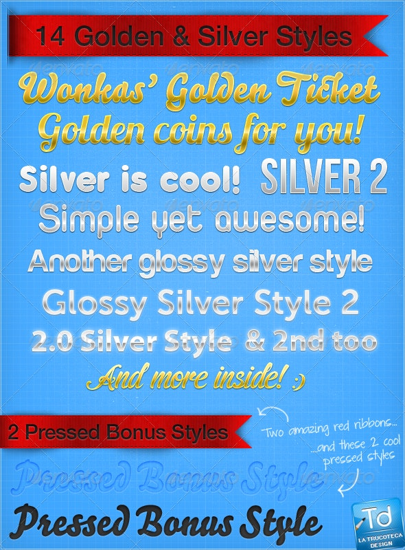 14 Golden & Silver Styles + 2 Letterpressed Styles - Text Effects Styles
