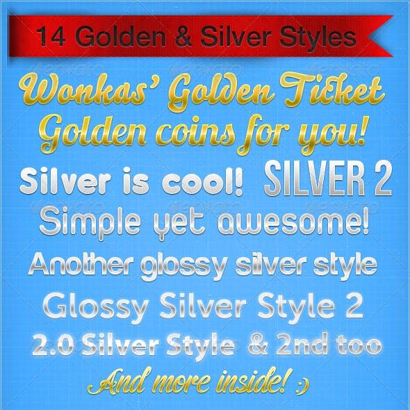 14 Golden & Silver Styles + 2 Letterpressed Styles