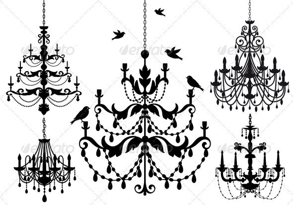 Antique Chandelier Vector Set - Man-made Objects Objects