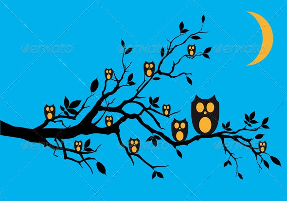 Night Owls On Tree, Vector Background - Animals Characters