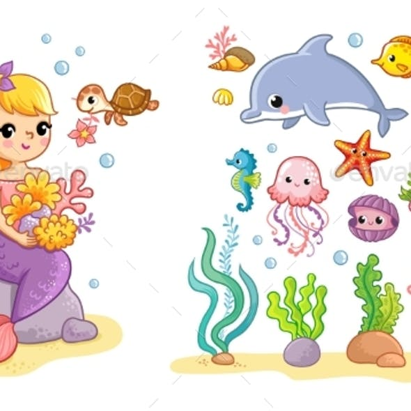 Big Set with a Mermaid and Sea Animals