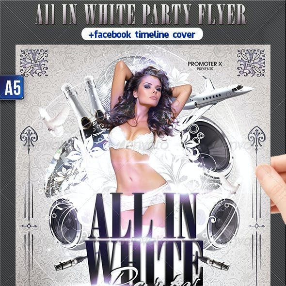 All In White Party Flyer + Facebook Timeline