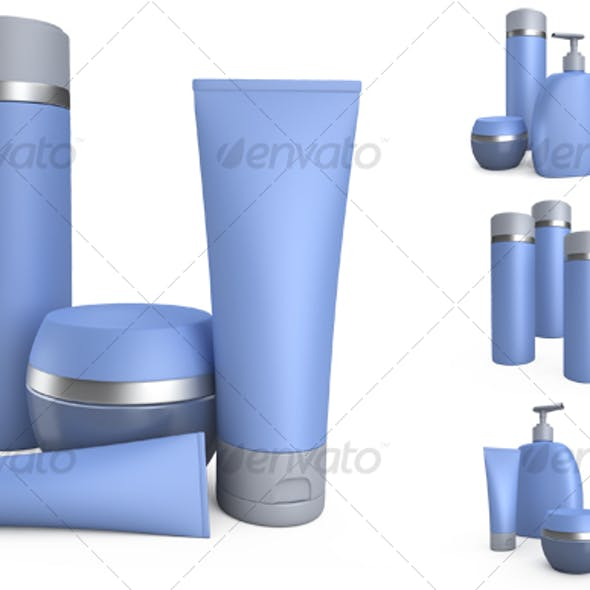 Blue cream cans and jars of creams.3D illustration