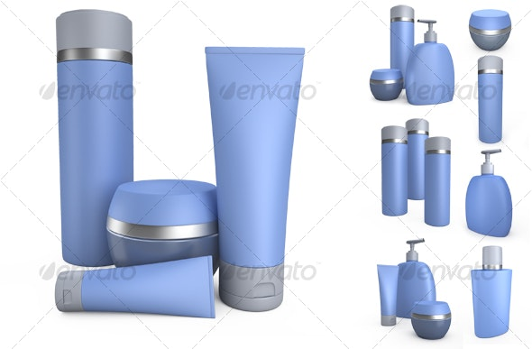 Blue cream cans and jars of creams.3D illustration - Objects 3D Renders