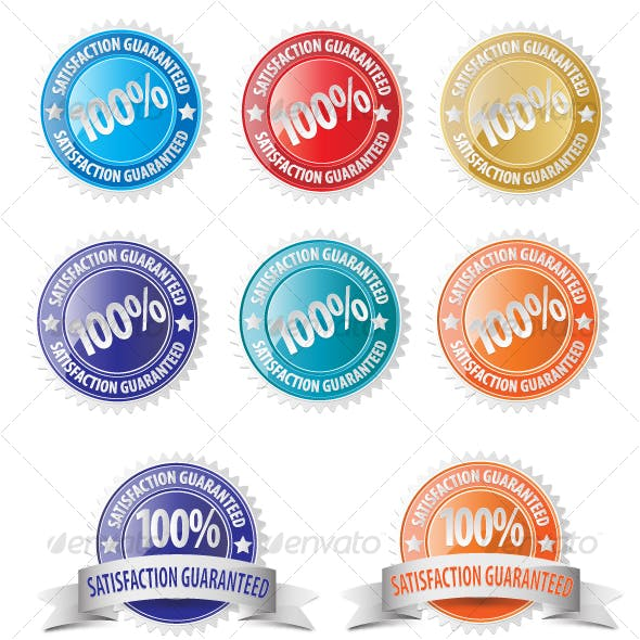 Vector Satisfaction Guaranteed Seal Icon Set
