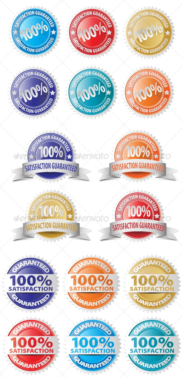 Vector Satisfaction Guaranteed Seal Icon Set - Man-made Objects Objects