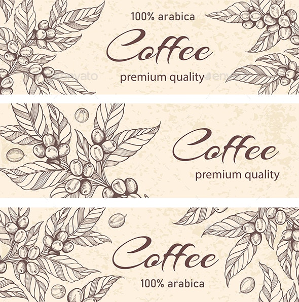 Horizontal Backgrounds with Coffee Plants - Food Objects