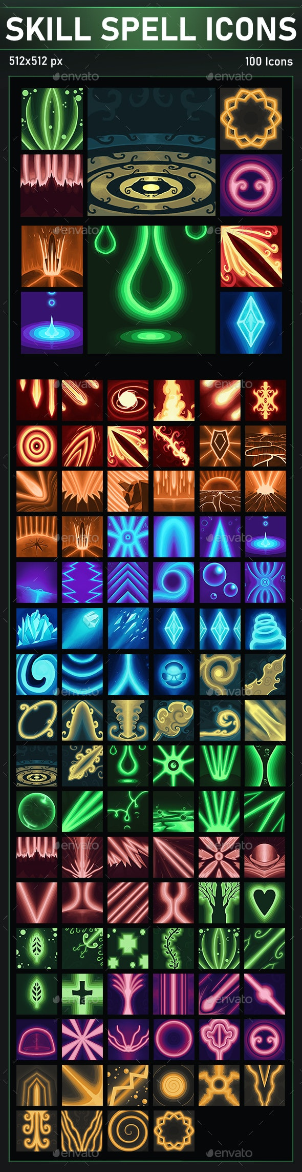 Skill & Spell Icons Pack - User Interfaces Game Assets