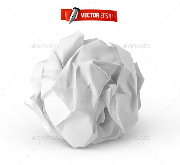 Vector Realistic Crumpled Paper Ball - Objects Vectors