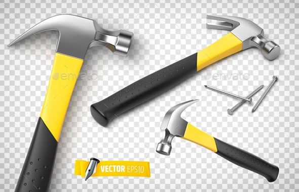 Vector Realistic Hammers and Nails - Man-made Objects Objects