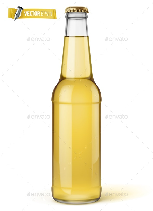 Vector Realistic Bottle of Beer - Food Objects