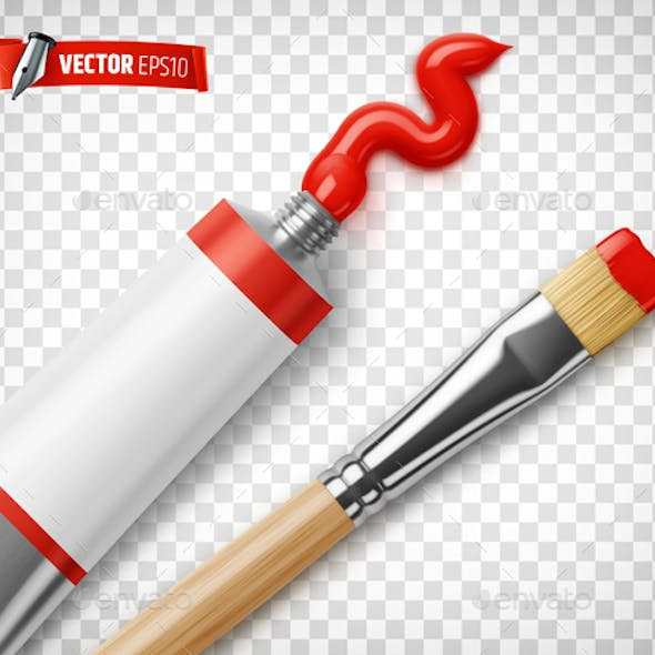 Vector Realistic Paint Tube and Paintbrush