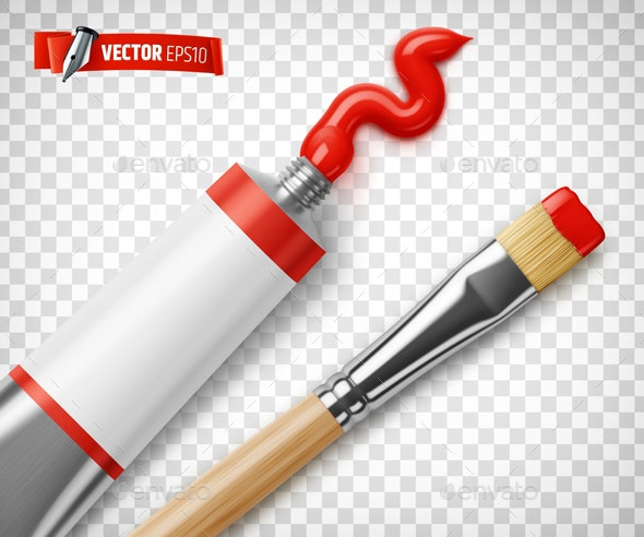 Vector Realistic Paint Tube and Paintbrush - Man-made Objects Objects