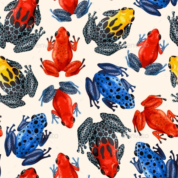 Vector Seamless Pattern with Vivid Tropical Frogs - Animals Characters