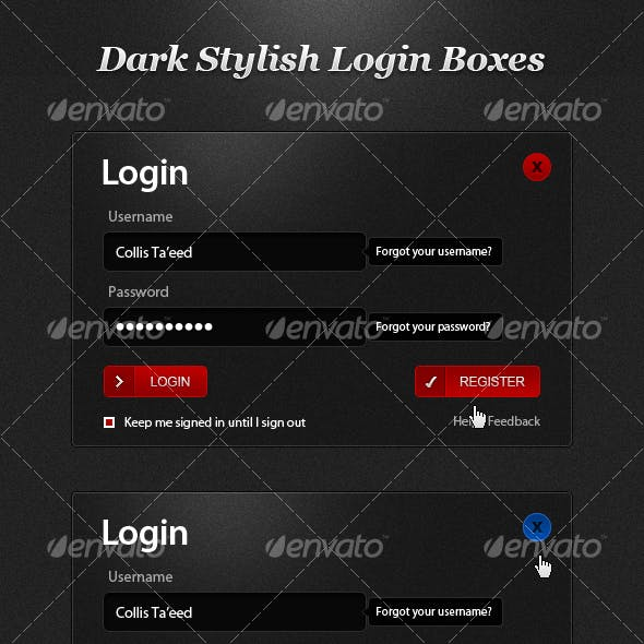 Dark Stylish Login Boxes